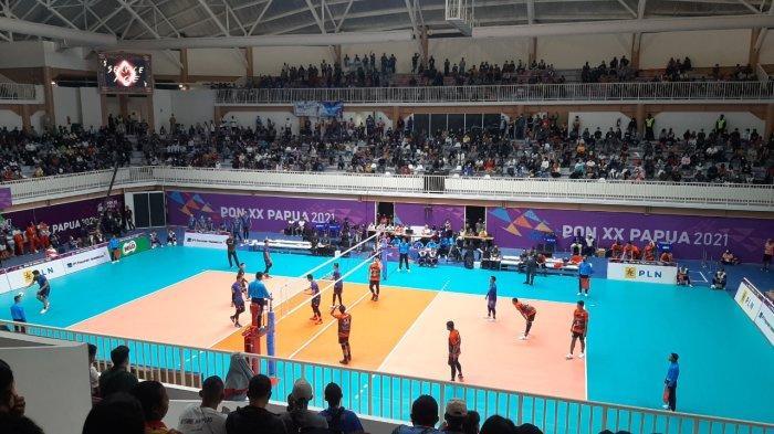 Laga final voli putra, DKI Jakarta vs Jawa Barat di PON Papua