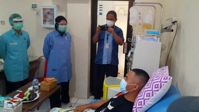 Layanan donor plasma konvalesen yang sudah resmi dijalankan PMI Kota Bekasi, Kamis (11/2/2021).