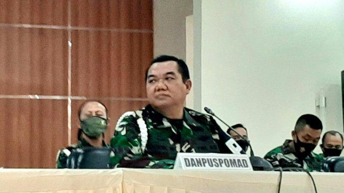 Komandan Puspom TNI AD (Danpuspomad), Letjen TNI Dodik Widjanarko, saat konferensi pers, di Puspomad, Jakarta Pusat, Rabu (9/9/2020).