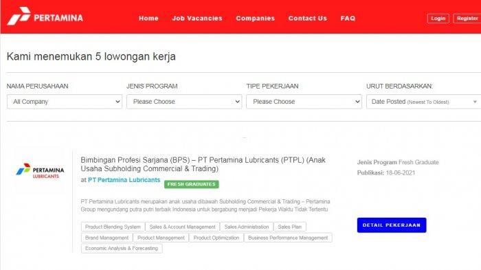 5 Lowongan Kerja Jakarta BUMN PT Pertamina Lulusan S1/D4, Catat Syarat dan Cara Daftarnya