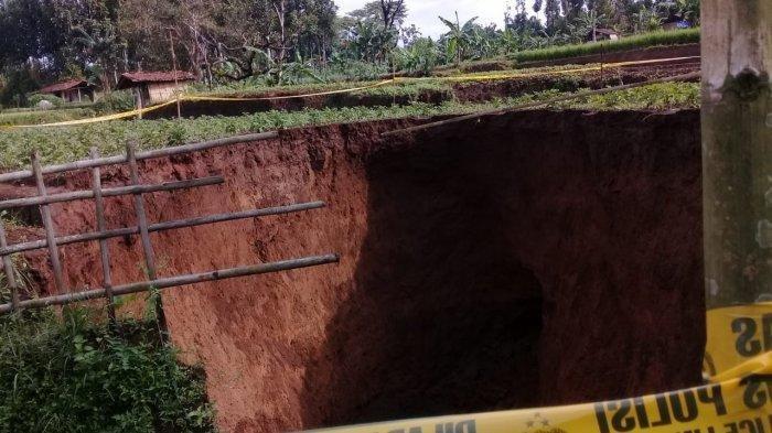Lubang Besar di Sawah Sukabumi, Warga Diminta Berjaga, Begini Penampakannya