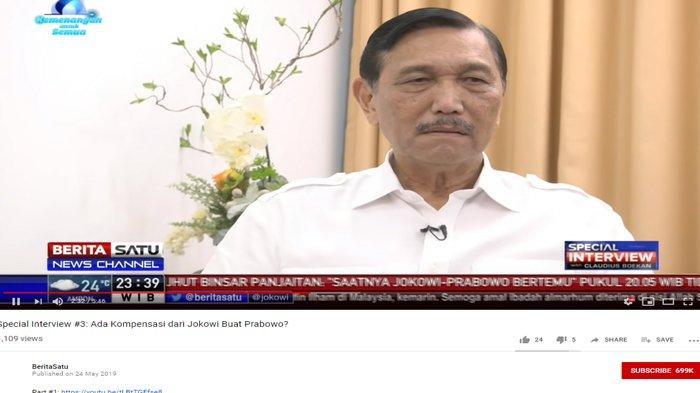 Luhut Binsar Panjaitan saat menjadi narasumber di acara Special Interview di Berita Satu, pada Jumat (24/5/2019).