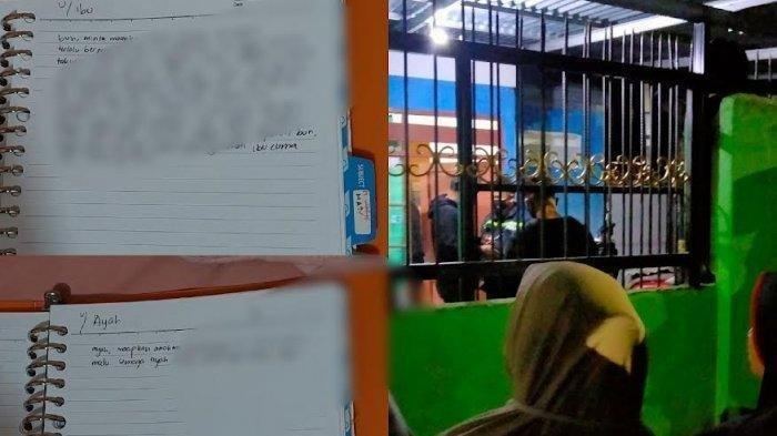 Kolase: Sebelum tewas tergantung, QA (20) diduga sempat menulis surat atau pesan ke ayahnya AKBP Andi Yunus Halid dan ibunya Haja Dasriana (istimewa) dan suasana Komplek Bumi Tamalanrea Permai (BTP) Kecamatan Tamalanrea, Makassar, Sabtu (11/9/2021) malam