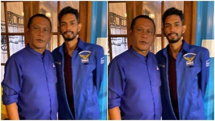 Ketua Partai Demokrat Lhokseumawe, T Sofianus bersama Martunis yang memakai baju Partai Demokrat. Foto disceenshot dari akun  Facebook T Sofianus