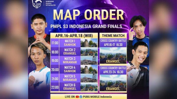 Susunan Map Grand Final PUBG Mobile Pro League PMPL ID Season 3, Diawali Sanhok Diakhiri Erangel