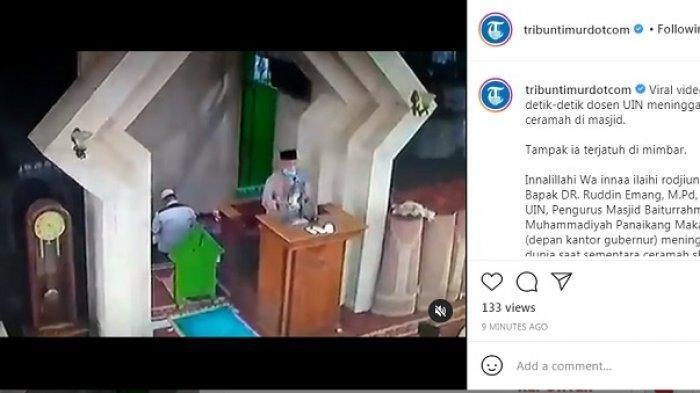 Video DrRuddinEmang Meninggal Dunia Saat Memberi Ceramah di Mimbar Masjid