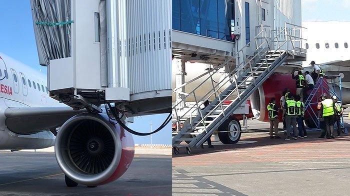Bagian mesin maskapai Batik Air menabrak garbarata di Bandara Internasional I Gusti Ngurah Rai Bali.