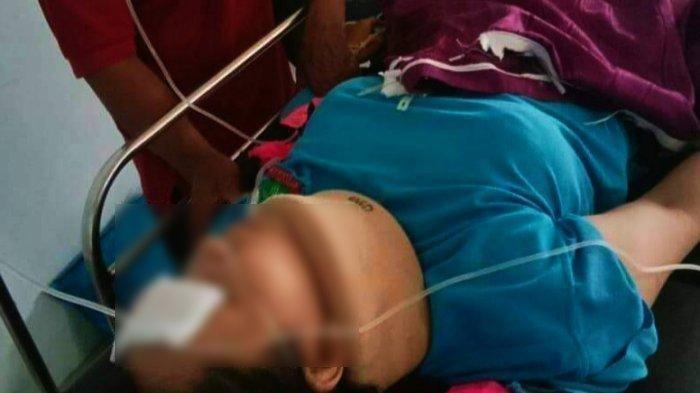 Mia saat menjalani perawatan di RS Bhayangkara Mamuju, Sulawesi Barat setelah tertimpa rerntuhan bangunan.
