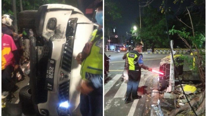 Hindari Motor, Mobil Pajero Hindar dan Tabrak Tiang Lampu Lalu Lintas Lalu Terbalik di Cideng