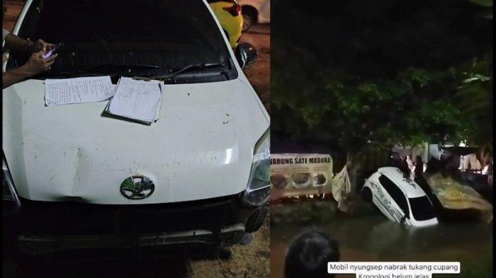 Sebuah Mobil Tabrak Gerobak PKL dan Kecebur ke Kali Karena Pengemudi Diganggu Anak