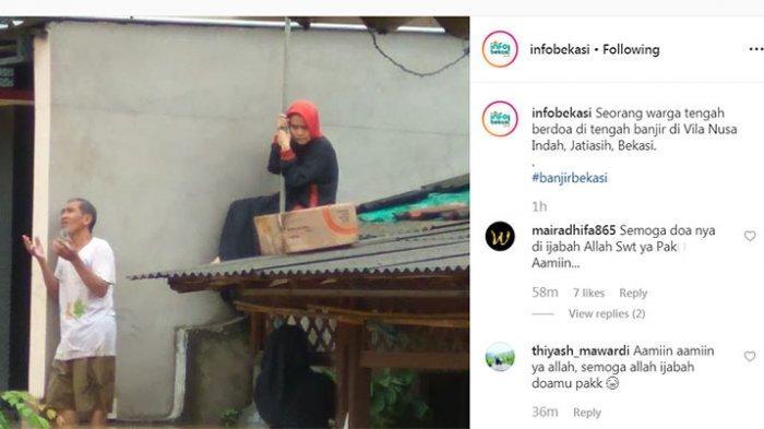 Momen Mengiris Hati di Bekasi, Pria Paruh Baya Angkat Dua Tangannya Berdoa di Atas Genangan Banjir