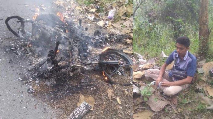 Kurir ekspedisi kehilangan sepeda motornya yang terbakar saat mengantarkan paket ke pelanggan di Desa Pelem, Kecamatan Bungkal, Kabupaten Ponorogo, Minggu (8/8/2021).