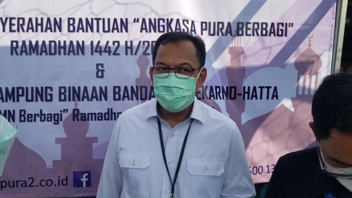 Direktur Operasional dan Pelayanan PT Angkasa Pura II, Muhammad Wasid saat ditemui awak media di Kampung Rawalini, Kecamatan Teluknaga, Kabupaten Tangerang, Senin (10/5/2021).