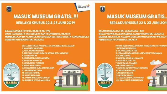 Sambut HUT ke-492 DKI Jakarta, Gratis Masuk Museum dan Destinasi Wisata Hari Ini dan Besok