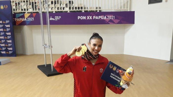 Pesenam asal DKI Jakarta, Nabila Evandestiera berhasil menjadi yang terbaik dengan meraih tiga medali emas cabor senam PON Papua.