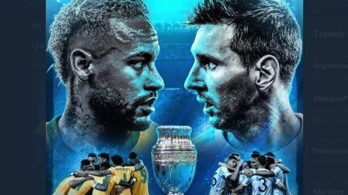Jadwal Final Copa America 2021 Brasil vs Argentina, Duel Lionel Messi dan Neymar di Laga Puncak