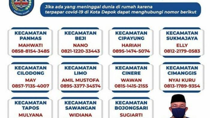 Catat, Nomor Hotline Pemulasaran Jenazah Covid-19 di 11 Kecamatan Kota Depok