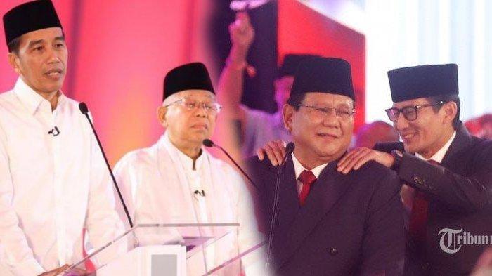 Real Count KPU Pilpres 2019 Pukul 12.30 WIB: Jokowi 54,88% Prabowo 45,12% Data Masuk 4,649%
