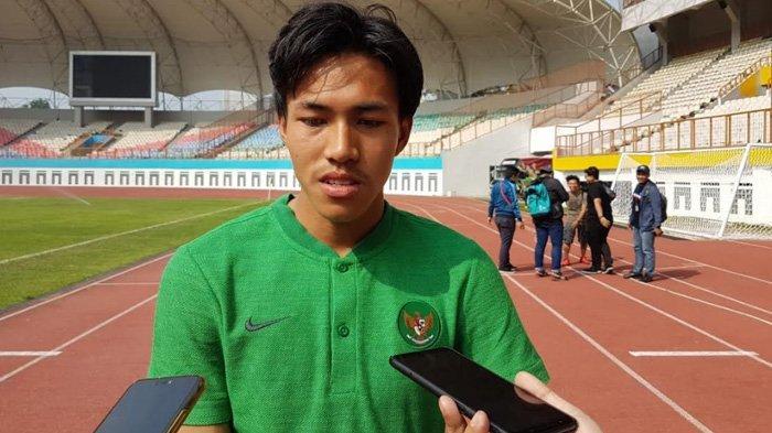 Pemain jebolan Garuda Select dan Timnas Indonesia U-16, Mochamad Yudha Febrian saat ditemui setelah mengikuti proses seleksi di Stadion Wibawa Mukti, Cikarang, Jawa Barat, Selasa (18/6/2019)