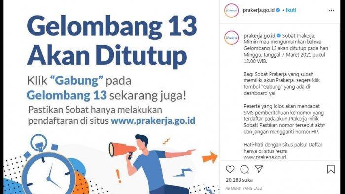 Bocoran Pengumuman Kartu Prakerja Gelombang 13 dan Jadwal Pendaftaran Kartu Prakerja Gelombang 14