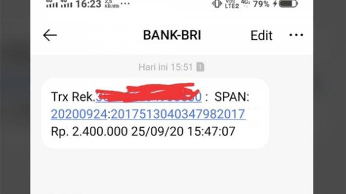 Foto penerima BLT UMKM sebesar Rp 2,4 juta mendapatkan notifikasi dari Bank BRI.