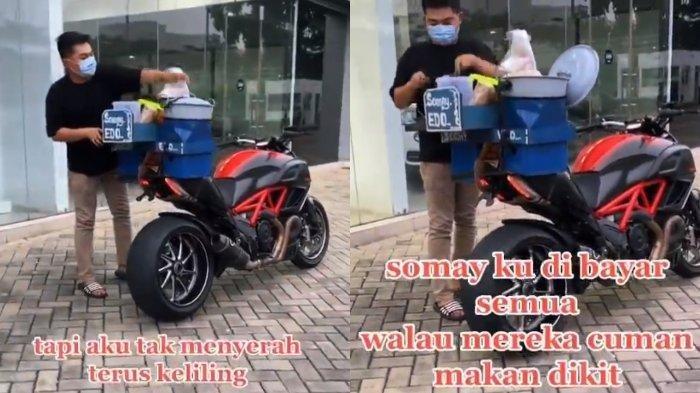 Cerita Dibalik Pria Penjual Siomay Pakai Moge Ducati Seharga Ratusan Juta Buat Berdagang di Tangsel