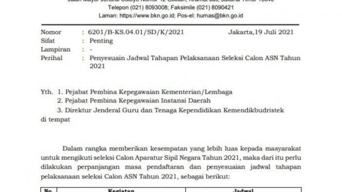Perpanjangan pendaftaran seleksi CASN atau seleksi CPNS dan PPPK 2021 di sscasn.bkn.go.id.