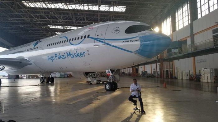 Pertama di Indonesia, Moncong Pesawat Garuda Indonesia Pakai Masker