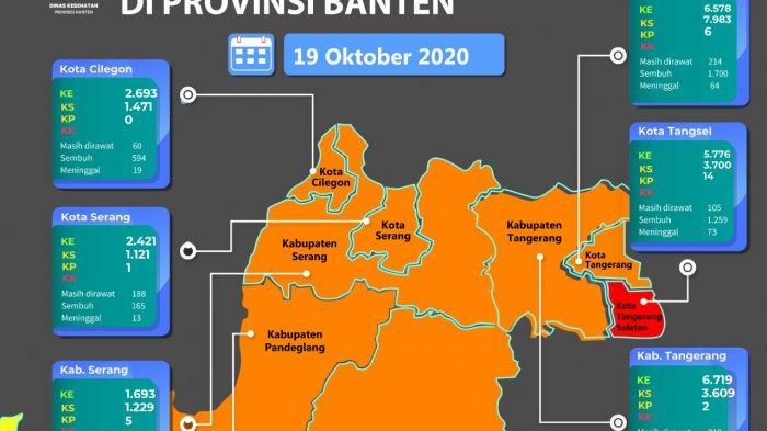 Peta penyebaran Covid-19 di Provinsi Banten yang menyisakan Tangerang Selatan sebagai zona merah penyebaran Virus Corona.