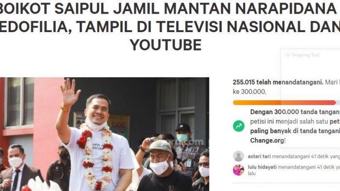 Petisi memboikot Saipul Jamil dari televisi dan YouTube.