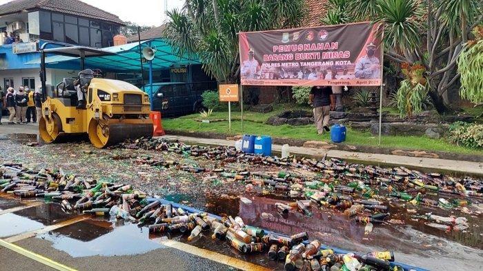 Sambut Ramadan 1442 H, 14.759 Miras Dimusnahkan Polres Metro Tangerang Kota