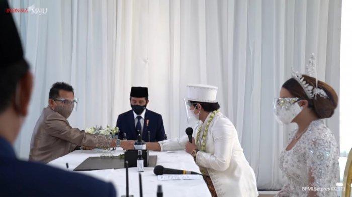 Presiden Jokowi saat menjadi saksi di pernikahan Atta Halilintar dan Aurel Hermansyah yang diposting di akun Youtube Sekretariat Presiden.