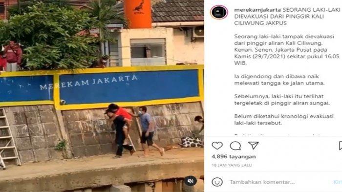 Pria Berbaju Merah Tergelincir Tak Sadarkan Diri di Pinggir Kali, Polisi: Sudah Pulang ke Rumah