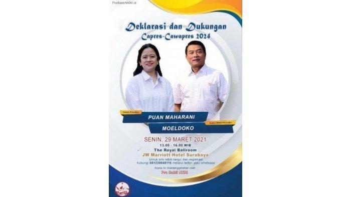Viral Poster Deklarasi Puan Maharani-Moeldoko Jadi Capres dan Cawapres 2024, Begini Komentar PDIP