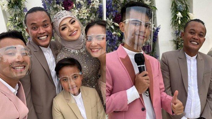 Raffi Ahmad, Nagita Slavina bersama Dimas Ramadhan di Pernikahan Sule pada Minggu (15/11)