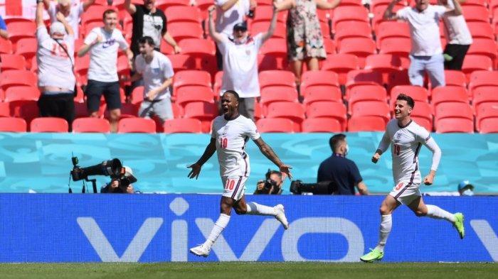 Raheem Sterling mencetak gol kemenangan Inggris saat bersua Kroasia pertandingan Grup D Piala Eropa 2020 atau Euro 2020, Minggu (13/6/2021).