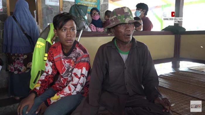 Rasman dan anaknya yang diminta Kang Dedi untuk berhenti menjadi pengemis.