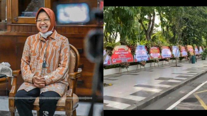 Karangan Bunga Banjiri Balaikota, Warga Surabaya Ucap Selamat Risma Jadi Mensos: Sampeyan Mantap Bu