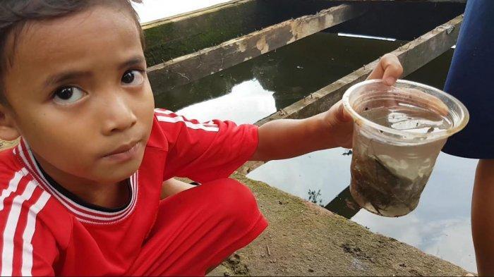 Libur Sekolah, Sejumlah Bocah Ini Asyik Memancing Udang Lobster di Setu Sawangan Depok