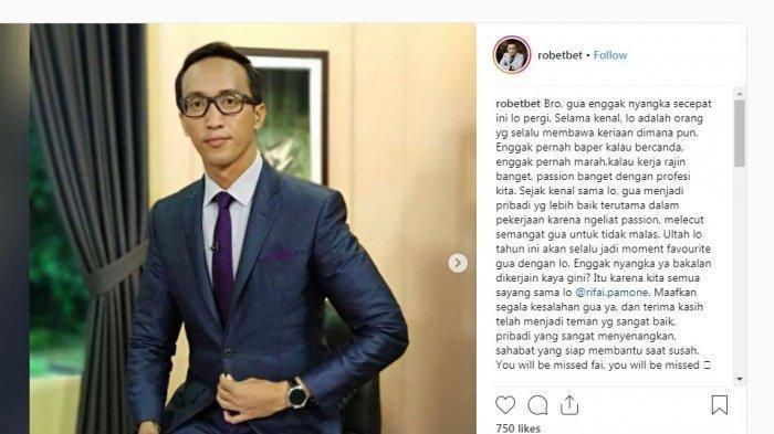Jurnalis Metro TV Rifai Pamone Meninggal Dunia Akibat Sakit Keras, Sosoknya Sempat Viral di Aksi 212