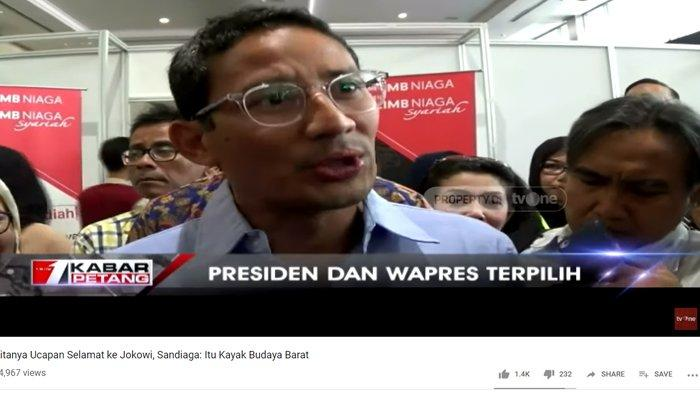 Diminta Ucapkan Selamat ke Jokowi-Maruf, Sandiaga Uno Tersenyum Tipis: Itu Kan Budaya Barat