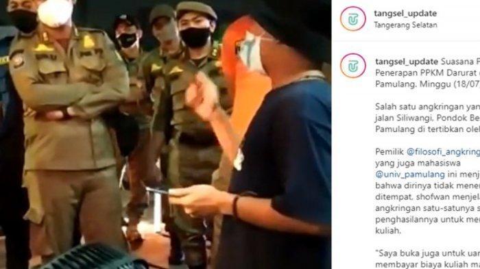 Pak Wali Kota, Ada Petugas Satpol PP Tangerang Selatan Intimidasi Pedagang Angkringan