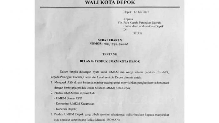 Surat edaran Wali Kota Depok untuk ASN tentang belanja produk UMKM.