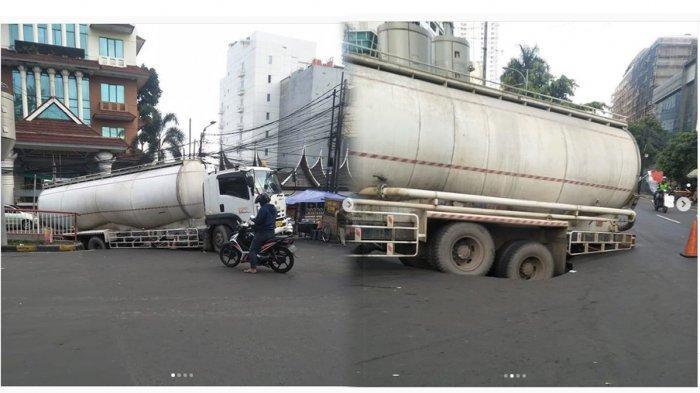 BREAKING NEWS Kecelakaan di Depan Thamrin City, Truk Tangki semen Jeblos ke Dalam Aspal