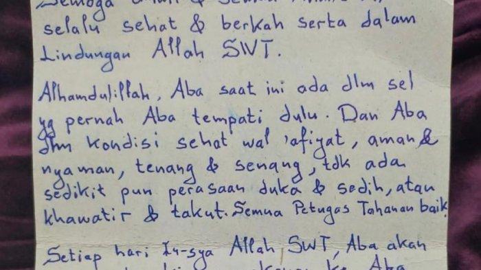 Secarik kertas berisi pesan cinta dari Pimpinan FPI Muhammad Rizieq Shihab untuk keluarganya, pada Senin (14/12/2020).