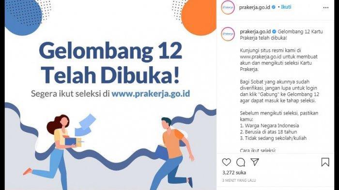 Seleksi Kartu Prakerja Gelombang 12 Telah Dibuka, Segera Login www.prakerja.go.id