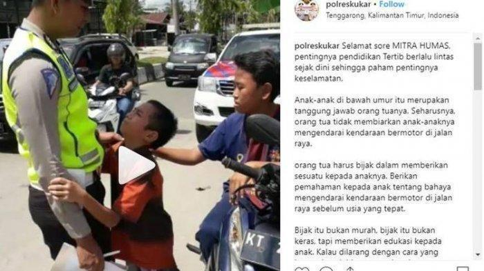 Viral Video Bocah Nangis Peluk Polisi dan Ajak Janji 'Jari Kelingking' Agar Tak Ditilang