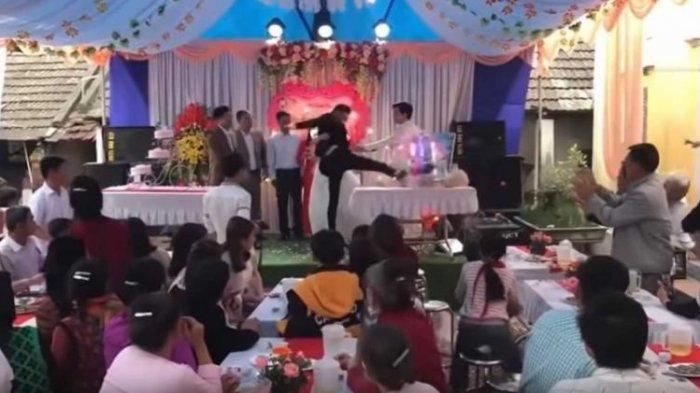 Seorang Pengantin Pria Mengamuk di Pesta Pernikahan, Tendang Segala Barang, Tamu Undangan Histeris