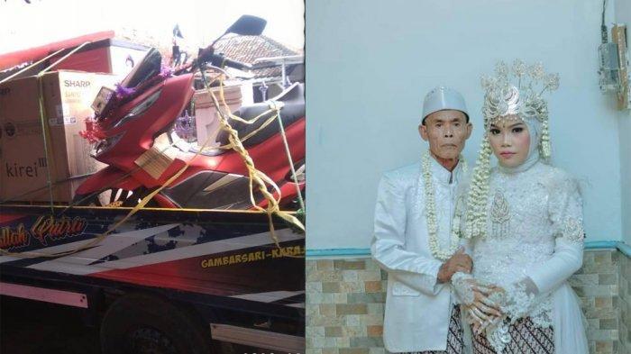 Viral Pernikahan Beda Usia 53 Tahun di Subang, Intip Momen Romantis Abah Sarna Cium Kening Istrinya