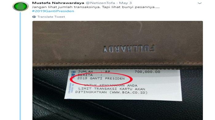 Mustofa Nahrawardaya Pamer Struk ATM BCA dengan #2019GantiPresiden, Netizen Bongkar Fakta Ini